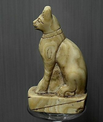 ANCIENT EGYPT ANTIQUE EGYPTIAN white granite‬‏ statue of cat BASTET 1500BC