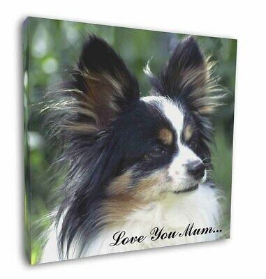 "Papillon Dog 'Love You Mum' 12""x12"" Wall Art Canvas Decor, Pictu, AD-PA62lym-C12"