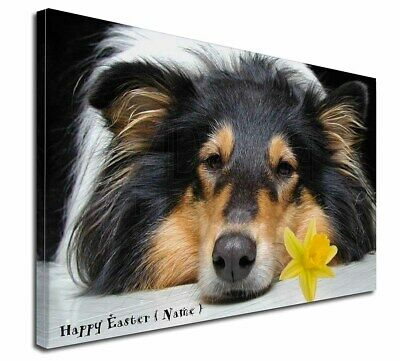 """Personalised Name Rough Collie 30""""x20"""" Wall Art Canvas, Extra L, AD-RC2DA2-C3020"""