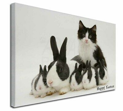 """Rabbits and Kitten 'Happy Easter' 30""""x20"""" Wall Art Canvas, Extra L, AR-6EA-C3020"""