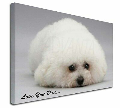 "Bichon Frise 'Love You Dad' 30""x20"" Wall Art Canvas, Extra Large , DAD-166-C3020"