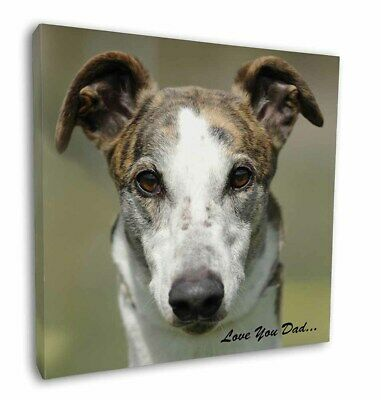 "Greyhound Dog 'Love You Dad' 12""x12"" Wall Art Canvas Decor, Picture , DAD-36-C12"