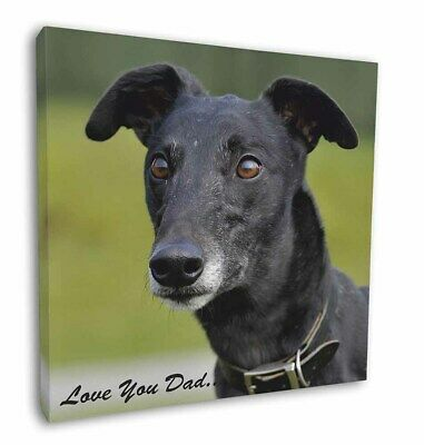 "Black Greyhound 'Love You Dad' 12""x12"" Wall Art Canvas Decor, Pictur, DAD-37-C12"