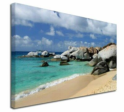 "Tropical Seychelles Beach 30""x20"" Wall Art Canvas, Extra Large Pictur, W-7-C3020"