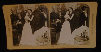 ** Antique Stereoscope Stereoview Card Alone At Last 1902 H.C. White Wedding *