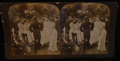 ** Antique Stereoscope Stereoview Card To The Health Of The Bride 1902 *