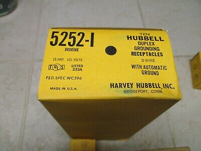 New Hubbell 5252-I Ivory Duplex Grounding Recptacles 3 Wire 15A 125V qty10 HD