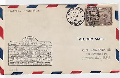 canada 1929 montreal to kingston  flight stamps cover ref 13173