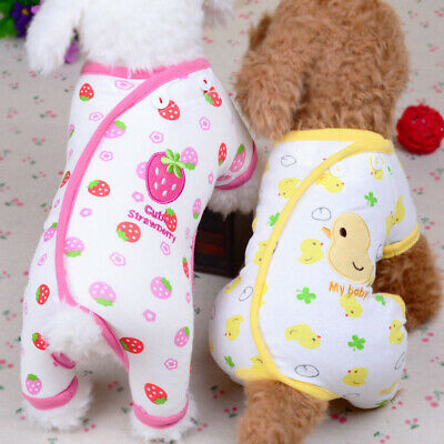 Embroidery Cutet Pet Cat Dog Pajamas Soft Clothes Apparel Puppy Jumpsuit New