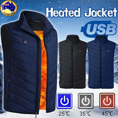 Unisex USB Electric Vest Heated Jacket Warm Up Heating Pad Winter Body Warmer AU
