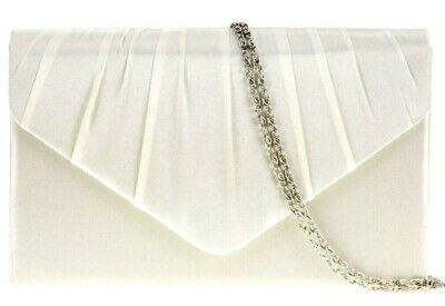 Cream Clutch Bag Ivory Coloured Satin Evening Bag Shoulder Bag Ladies Prom Bag