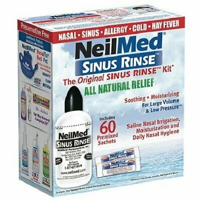 NeilMed Sinus Rinse 60 Premixed Sachets kit & 240ml bottle kit