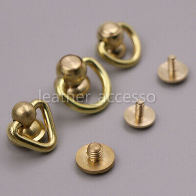 Ball Post with D ring Rivet Stud nail Round head Chicago Screw Back LeatherCraft