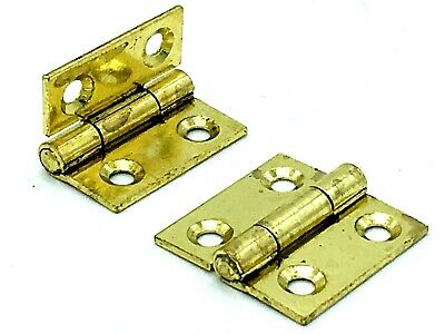 "BUTT HINGES 25mm brass plated steel 1"" inch dolls house / small box hinge  (644)"