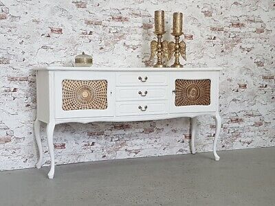 Anrichte Chippendale Sideboard Shabby Chic Antik Weiss Kommode Top Zustand