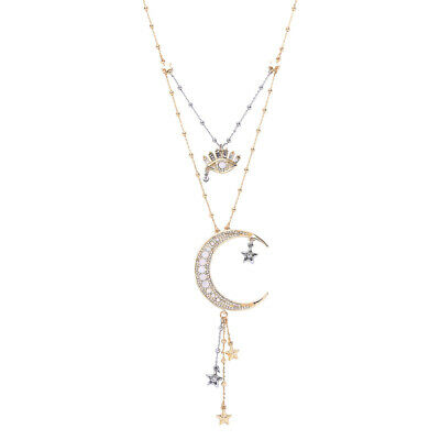 Crystal Pave Moon Starburst Pendant Layered Chains Women Statement Necklace