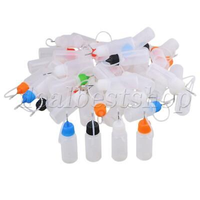 50x Empty 10ml Squeezable With Needle Tip Liquid Dropper Bottles w/Colorful Cap