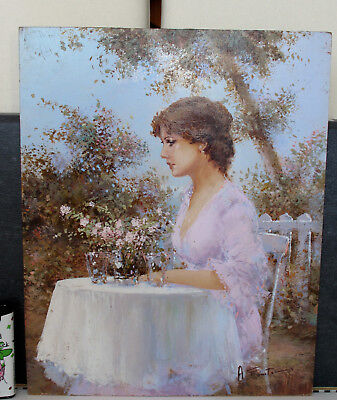 A.Forstmann Oil Painting Lady Woman Girl Portrait Cafe Park Impressionist
