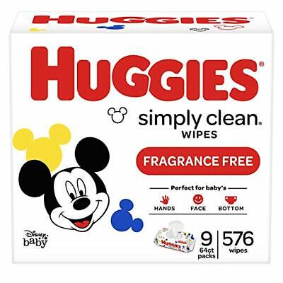 NEW HUGGIES Simply Clean Fragrance-Free Baby Wipes, Soft Pack 576 Alcohol-Free