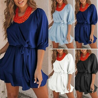 Girls Ladies Fashion V Neck Pure Color Lace-up Holiday Casual Top Mini Dress