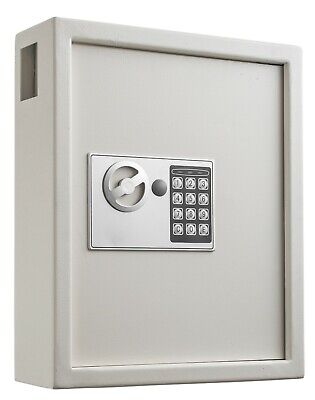 Key Cabinet Digital Lock, WHITE    Wall Mounted 40 Key Security Box Storage Safe