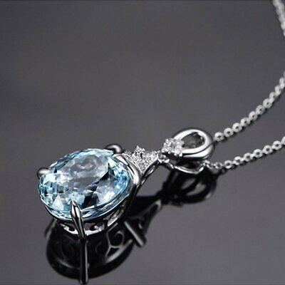 Vintage Gemstone Natural Aquamarine Chain Pendant Necklace Jewelry Holiday Gift