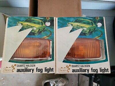 Two Vintage Sears Quartz Halogen Auxiliary Chrome Amber Fog Lights * Nos