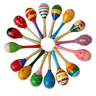 1pcs Baby Wooden Maracas Ball Rattle Musical Toy Sand Hammer Kids Educational