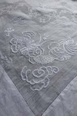 "Antique white Pina linen hand embroidered tablecloth - Dragons  38""sq"