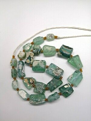 Ancient Old Rare  Roman Glass Beads Square  Mixed Size Color Random String