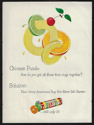Vintage 1949 LIFE SAVERS Five Flavor Candy Print Ad - Chinese Puzzle