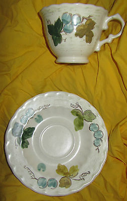 Tazza e Piattino Metlox Vernon Ware Vigneto Made in California Uva & Foglie