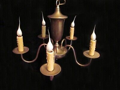 Vintage Brass Chandelier 5 Arm Urn Colonial Williamsburg Style Highly Patinated