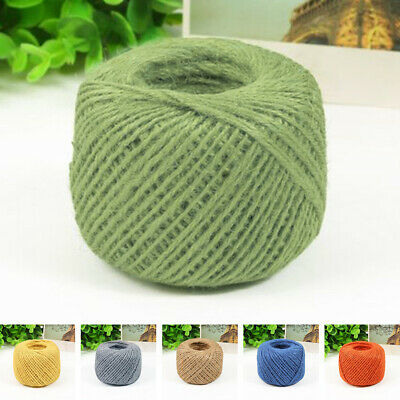 UK 50m 3 Ply Coloured Natural Jute Twine Gift Garden Burlap Craft String Cord QY