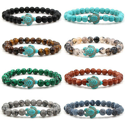 Charm Men Women Natural Turquoise Turtle Stone Beaded Bracelet Gifts Lucky Hot