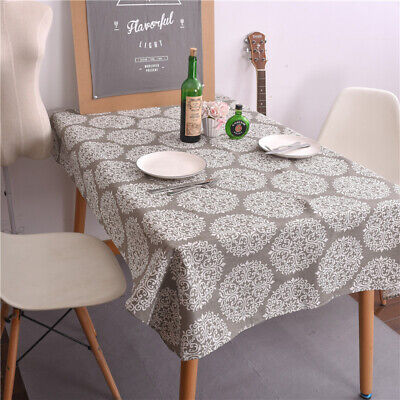 Vintage Cotton Linen Rectangle Tablecloth Protector Home Dining Table Cover US