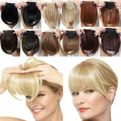 Thick Neat Air Bangs as Real Synthetic Hair Clip on Fringe Front Hairpiece
