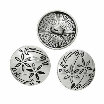 6Pcs Antique Silver Flower Carving Shank Buttons Craft DIY Sewing Accessories