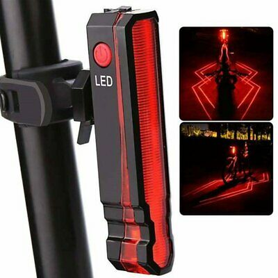 USB Rechargeable Mountain Bike Bicycle Laser 5 LED Rear Tail Light Cycle Lamp 2E