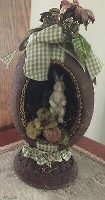 Bethany Lowe Primitive Easter Diorama Egg With Bunny Checkered Ribbon