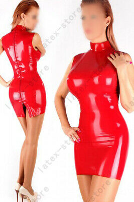 Latex Catsuit Rubber Gummi Red Leotard Sleeveless Sexy Club Wear Customized .4mm