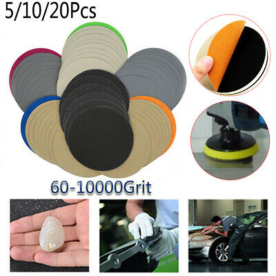 60 - 10000 Grit 5'' 125mm Sanding Disc Sandpaper Pads With Loop Wet or Dry