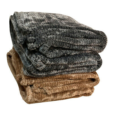 Thick Winter King/single Size Faux Mink Blanket (500GSM)  Grey & Brown