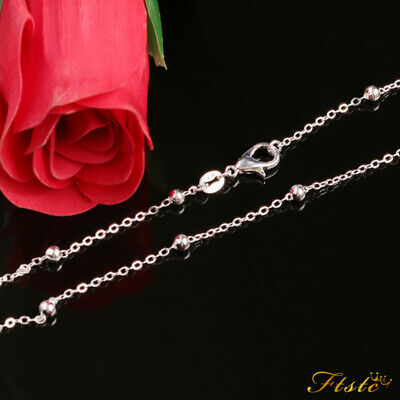 Genuine 925 Sterling Silver Ball Bead Curb Chain Necklace