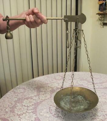 ANTIQUE  BRASS  hand held  BALANCE BEAM HANGING SCALE  w Pan