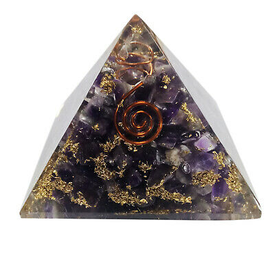 Extralarge 65-70mm Amethyst Orgone Pyramid Energy Generator EMF Protection Stone