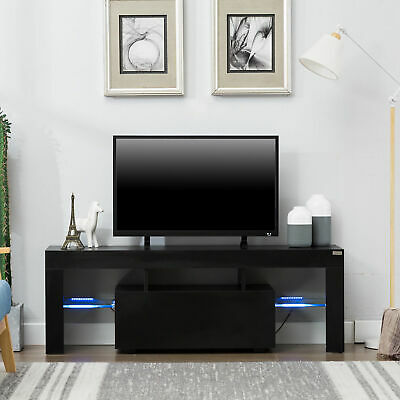 High Gloss TV Stand Unit Cabinet Console Furniture w/LED Shelves 1 Drawers Black