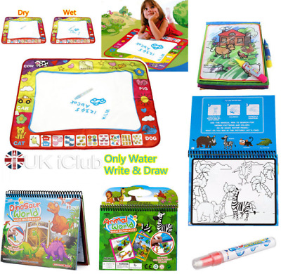 Magic Water Painting Mat Book Resuable W/ Pen Kid Toddler Drawing Early Learning
