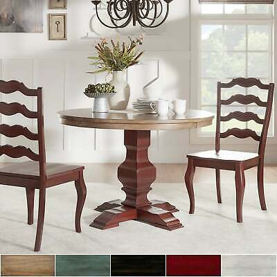 Eleanor Berry Red Round Soild Wood Top Ladder Back 3-piece Dining Set by iNSPIRE