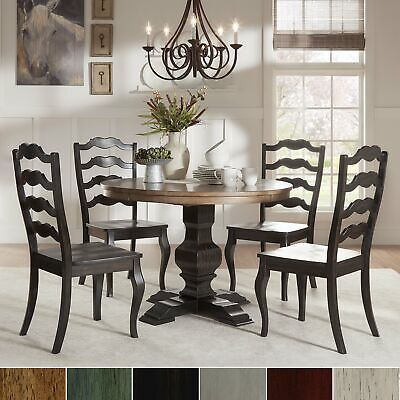 Eleanor Black Round Solid Wood Top 5-Piece Dining Set - French Ladder Back by